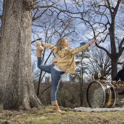 Yoga teacher Carson Efird and husband Joe Westerlund, lead drumming and yoga classes.